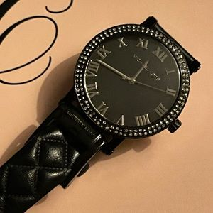 Michael Kors Black Leather Quilted Pavé Watch
